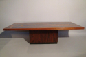 Rosewood, copper and blue resin table, Danish c1960 - picture 4