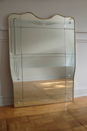 Sectional overmantle mirror with bubble glass detail, attributed to Gio Ponti. Italian c1950