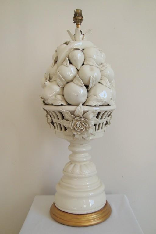 Cream glazed ceramic table lamp, of fruit, Italian c1940