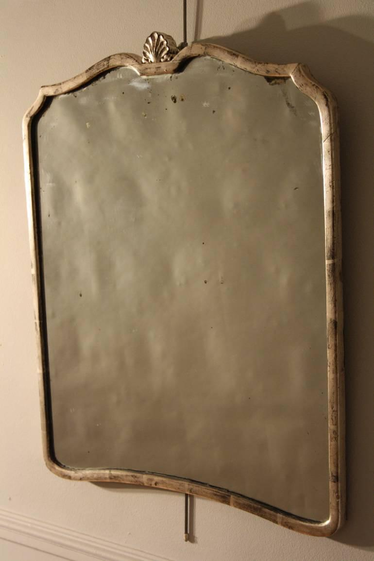 Silver mirror with original plate, c1930