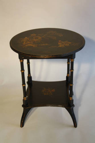 Two tier Chinoiserie decorated side table, C20th