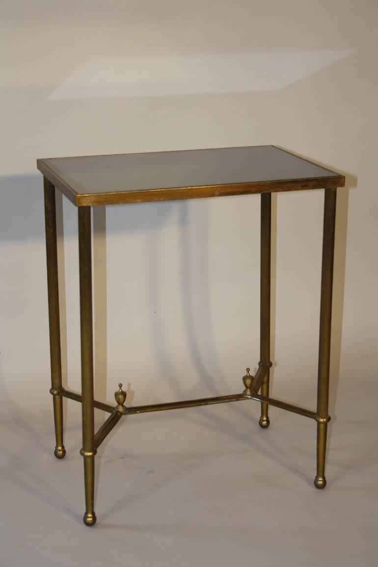 Gilt metal table with grey mirror glass top, French c1950