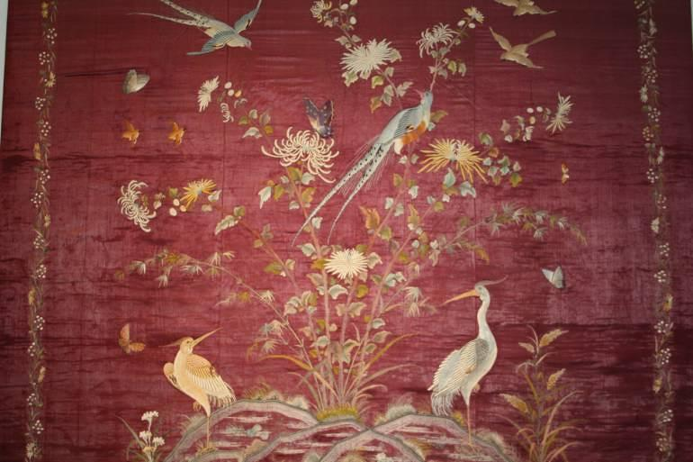 Antique hand embroidered Chinese/Japanese textile, C19th