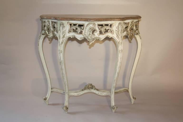 French painted console with marble top