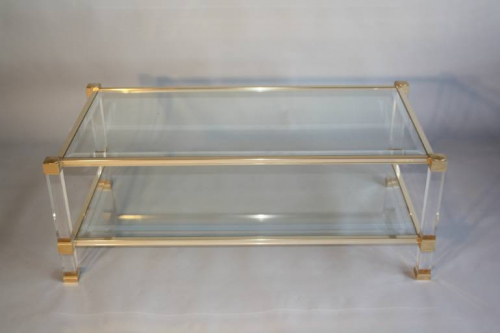 A Pierre Vandel two tier glass and lucite coffee table