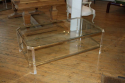 Rectangular lucite and pale gold metal two tier coffee table, French c1970 - picture 1