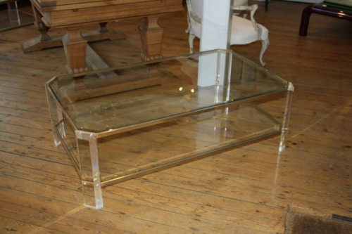 Rectangular lucite and pale gold metal two tier coffee table, French c1970