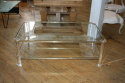 Rectangular lucite and pale gold metal two tier coffee table, French c1970 - picture 2