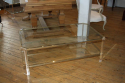 Rectangular lucite and pale gold metal two tier coffee table, French c1970 - picture 3