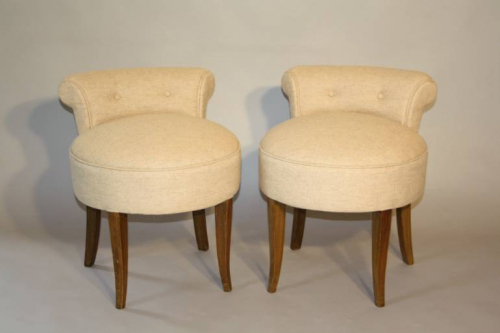 French 1950`s buttoned petite chairs