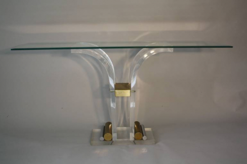 Lucite console with glass top