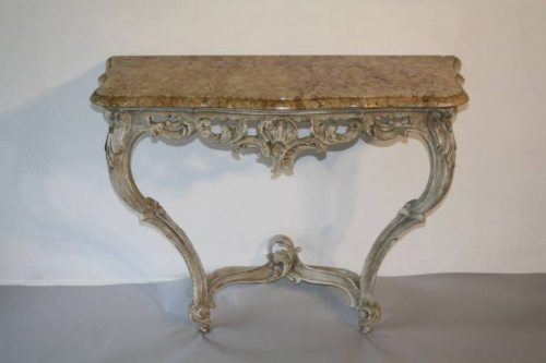 Painted carved wood and marble top console