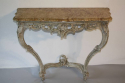 Painted carved wood and marble top console - picture 3