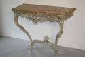 Painted carved wood and marble top console - picture 5