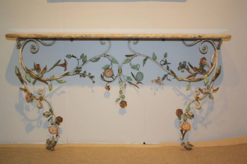 A pair of Italian Florentine metal floral and marble consoles
