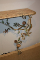 A pair of Italian Florentine metal floral and marble consoles - picture 3