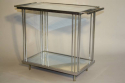 Art Deco silver metal and mirror two tier side table, French c1930 - picture 1