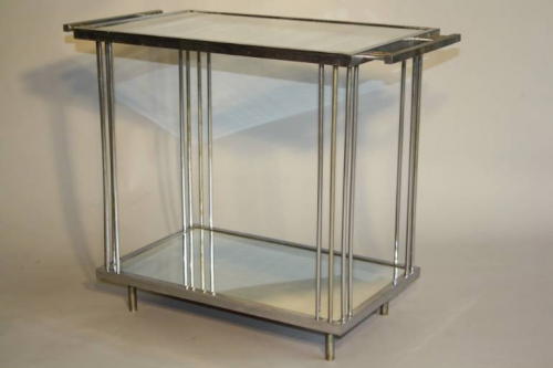 Art Deco silver metal and mirror two tier side table, French c1930