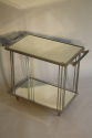 Art Deco silver metal and mirror two tier side table, French c1930 - picture 2