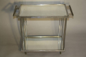 Art Deco silver metal and mirror two tier side table, French c1930 - picture 3