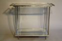 Art Deco silver metal and mirror two tier side table, French c1930 - picture 5