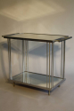 Art Deco silver metal and mirror two tier side table, French c1930 - picture 7