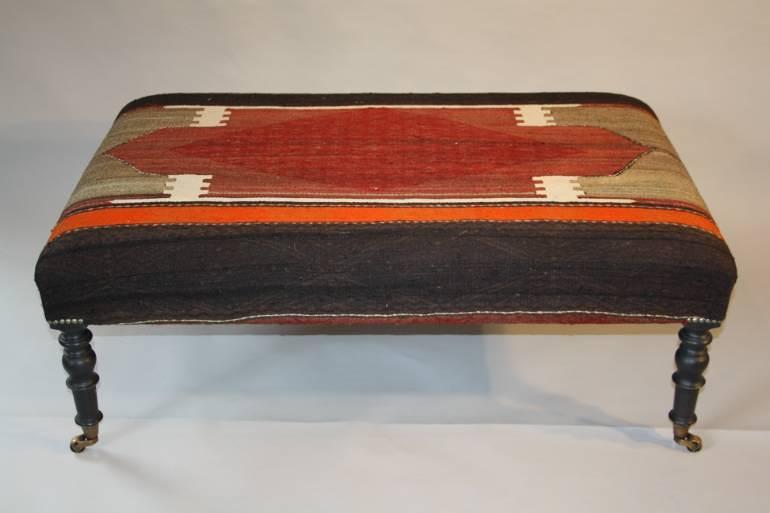 Wool kilim foot stool/table