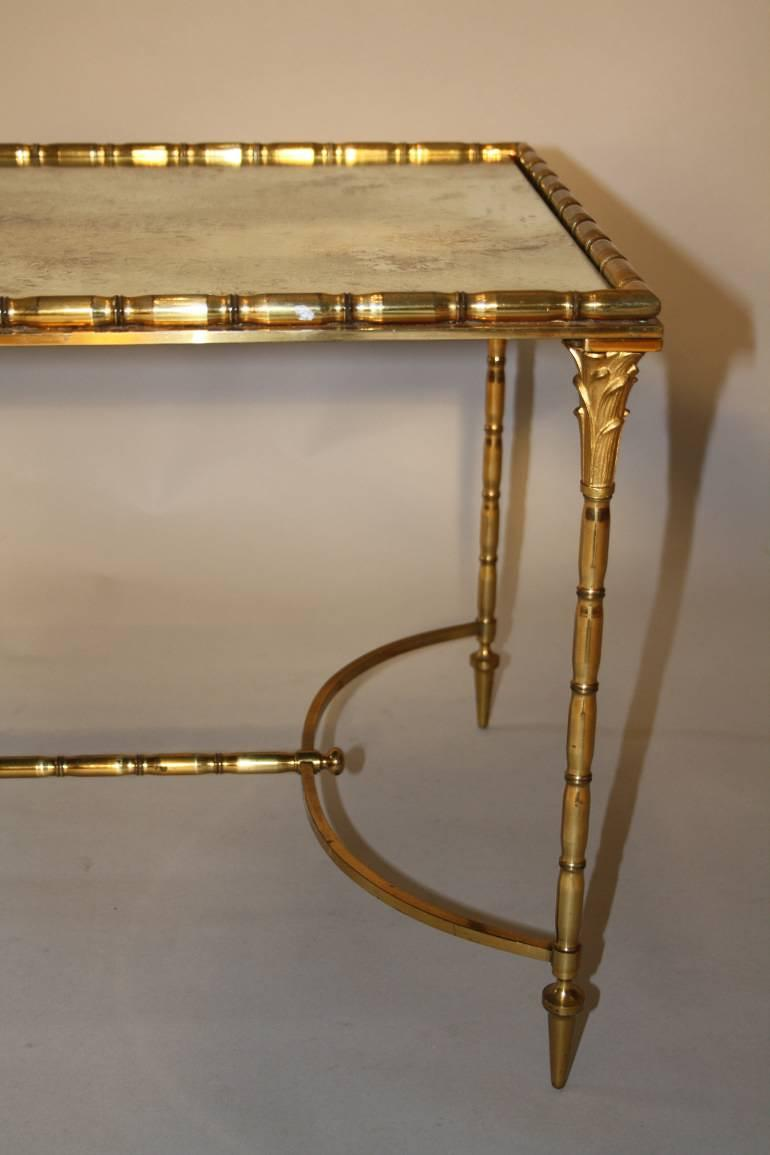 Gilt metal bamboo occasional table, attributed to Maison Bagues, French c1950