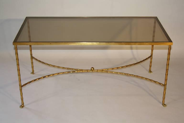 A gilt metal bamboo coffee table, French c1970