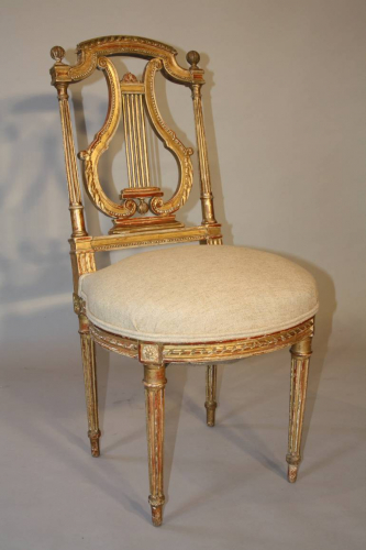 C19th carved gilt wood chair