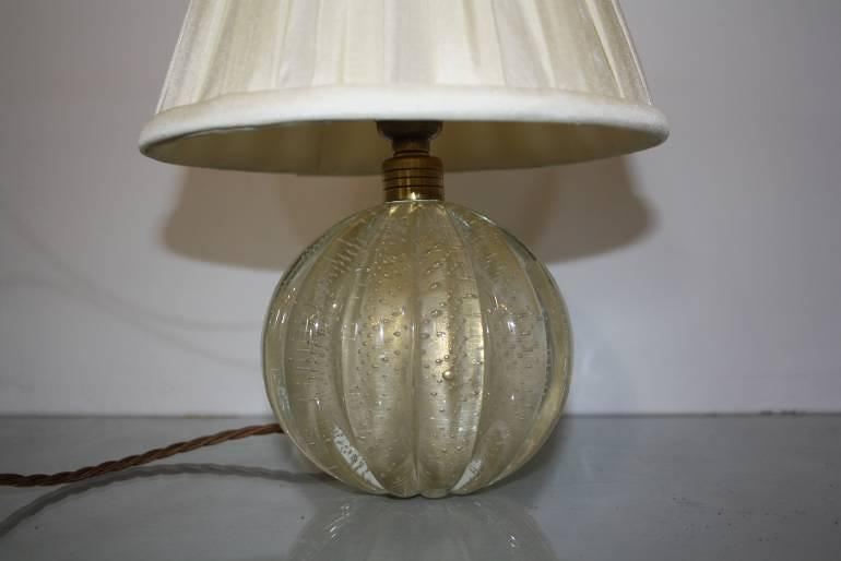 Murano gold flecked glass ball table lamp. Italian c1950