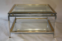 A square silver and gold two tier coffee table - picture 1