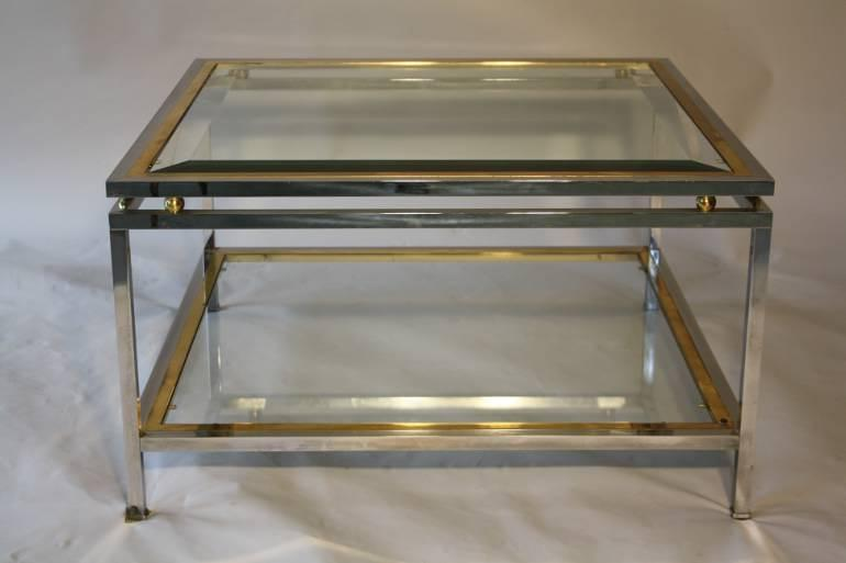 A Square Silver And Gold Two Tier Coffee Table   Picture 1 ...