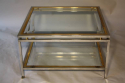 A square silver and gold two tier coffee table - picture 3