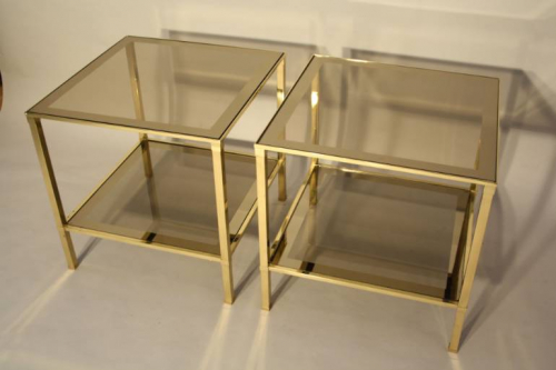 A pair of brass and mirror edge bout de canape side tables, France c1970