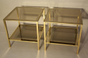 A pair of brass and mirror edge bout de canape side tables, France c1970 - picture 2