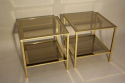 A pair of brass and mirror edge bout de canape side tables, France c1970 - picture 3