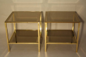 A pair of brass and mirror edge bout de canape side tables, France c1970 - picture 4