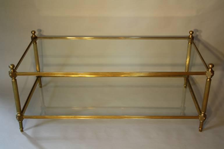 Solid two tier gilt metal rectangular coffee table