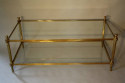 Solid two tier gilt metal rectangular coffee table - picture 7