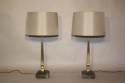 Pair of brass and marble table lamps - picture 1