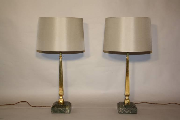 Pair of brass and marble table lamps