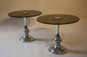 1970`s glass and chrome circular end tables - picture 1