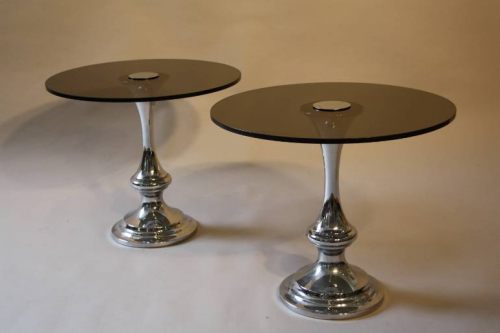 1970`s glass and chrome circular end tables