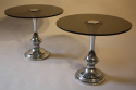 1970`s glass and chrome circular end tables - picture 4