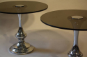 1970`s glass and chrome circular end tables - picture 5