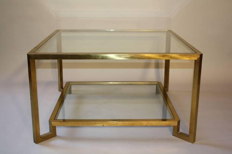 1960`s Italian square two tier brass coffee table