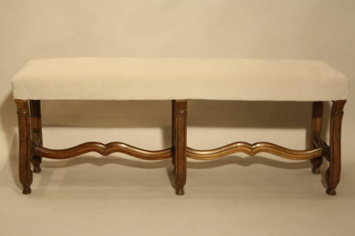 Antique Spanish scroll carved walnut bench, c1900.