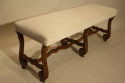 Antique Spanish scroll carved walnut bench, c1900. - picture 2