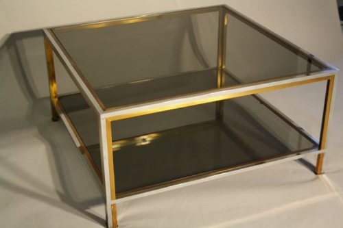 A square silver and brass smoked glass two ti